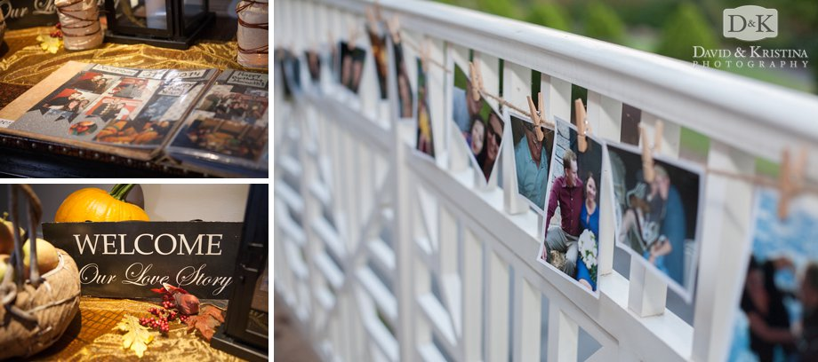 photos hanging from wooden clothesepins at wedding