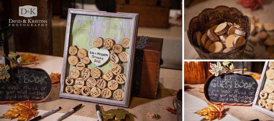 small wooden birch round guest book at wedding