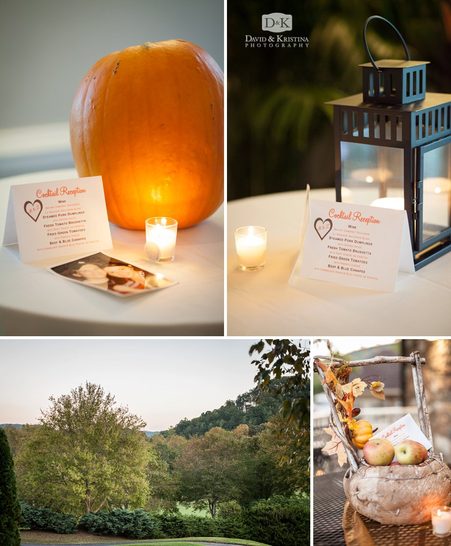 pumpkins apples and lanterns as table decorations
