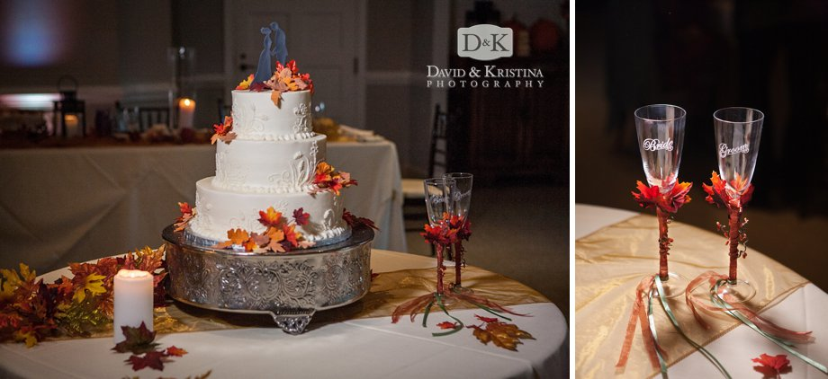 Wedding cake and Bride and Groom champagne flutes