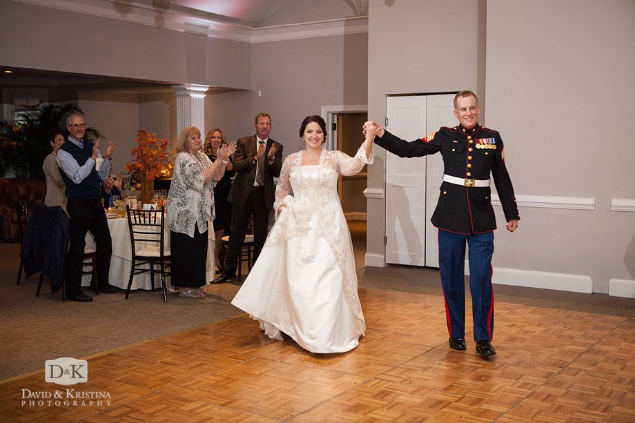 bride and groom introduced at Cliffs Valley Clubhouse