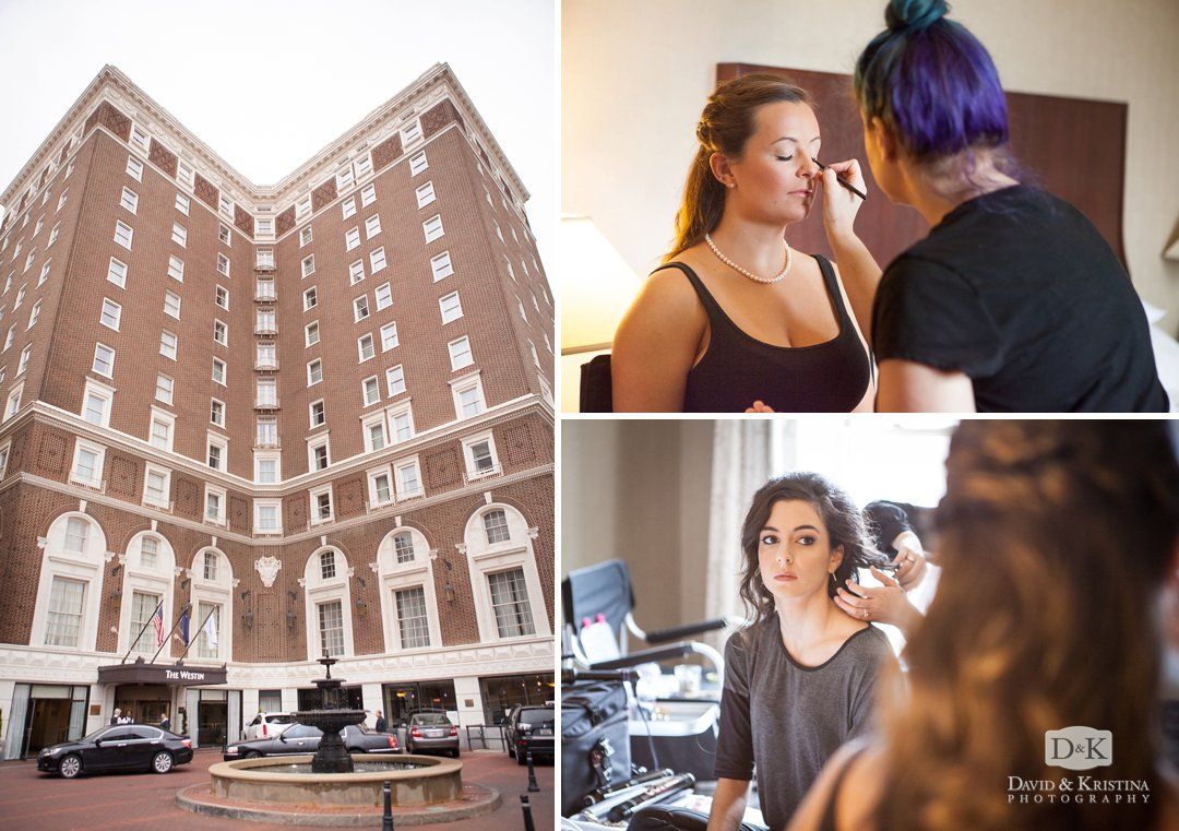 bridesmaids getting ready before wedding at Westin Poinsett hotel