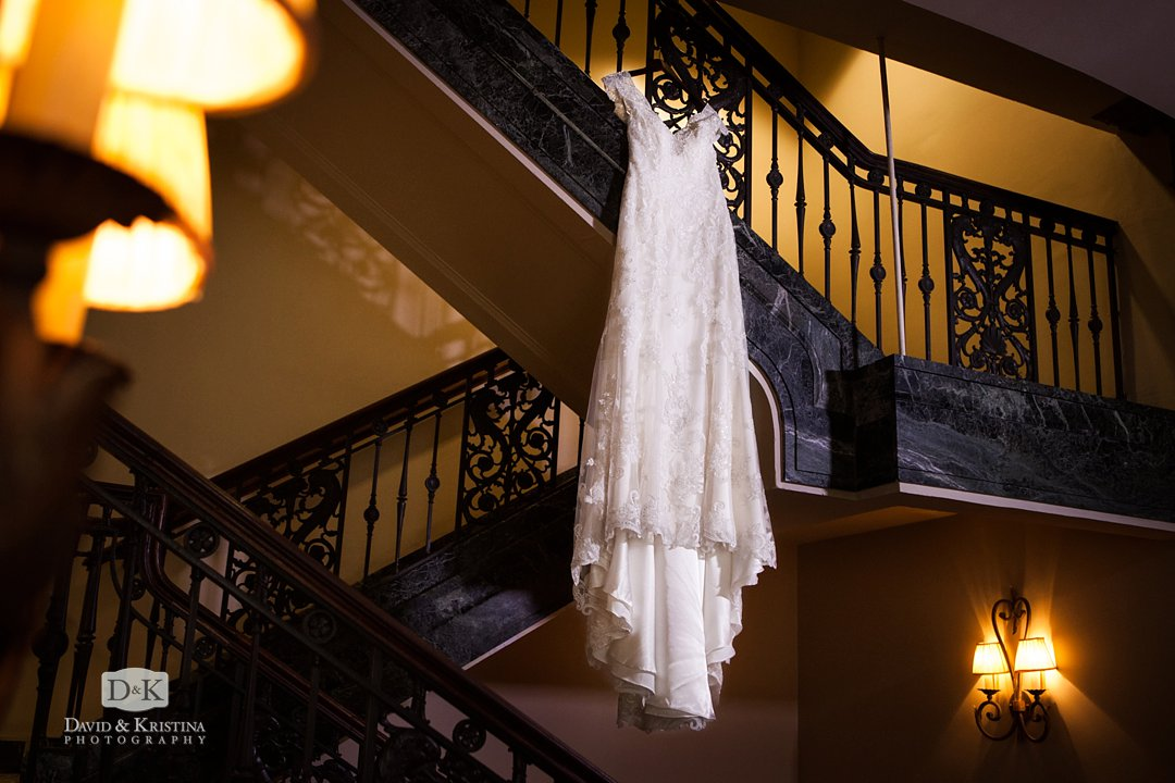wedding dress hanging in Westin Poinsett Hotel
