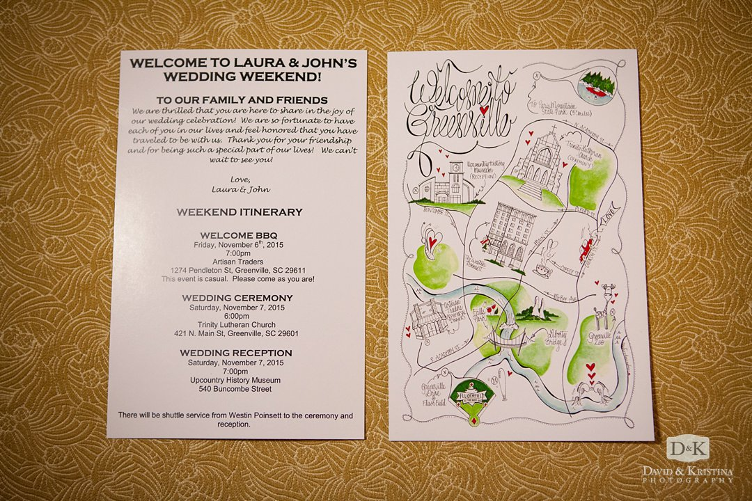 wedding day itinerary and map