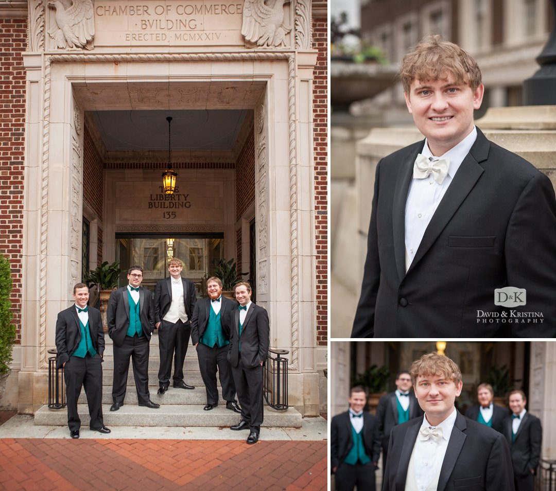 John and groomsmen at Poinsett Plaza