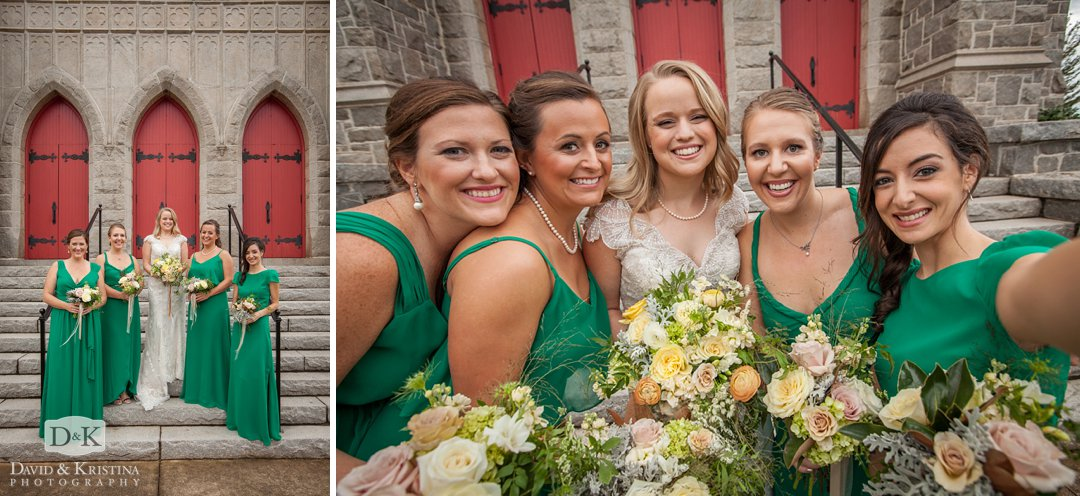 bridesmaids at Trinity Lutheran