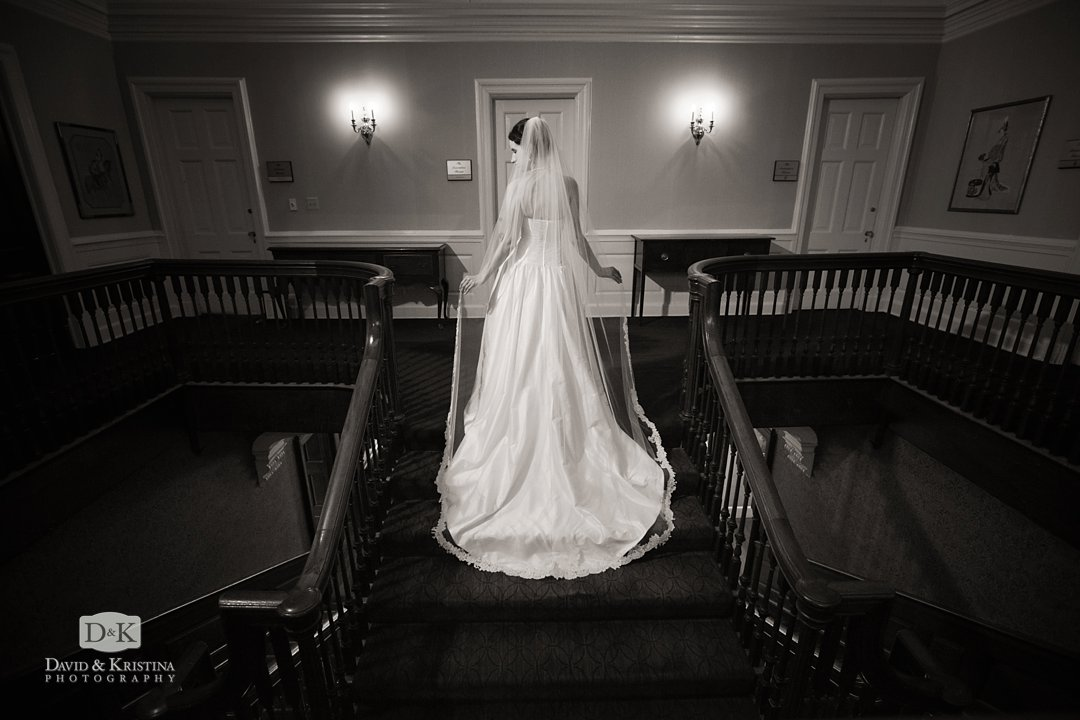 bride on staircase at The Poinsett Club