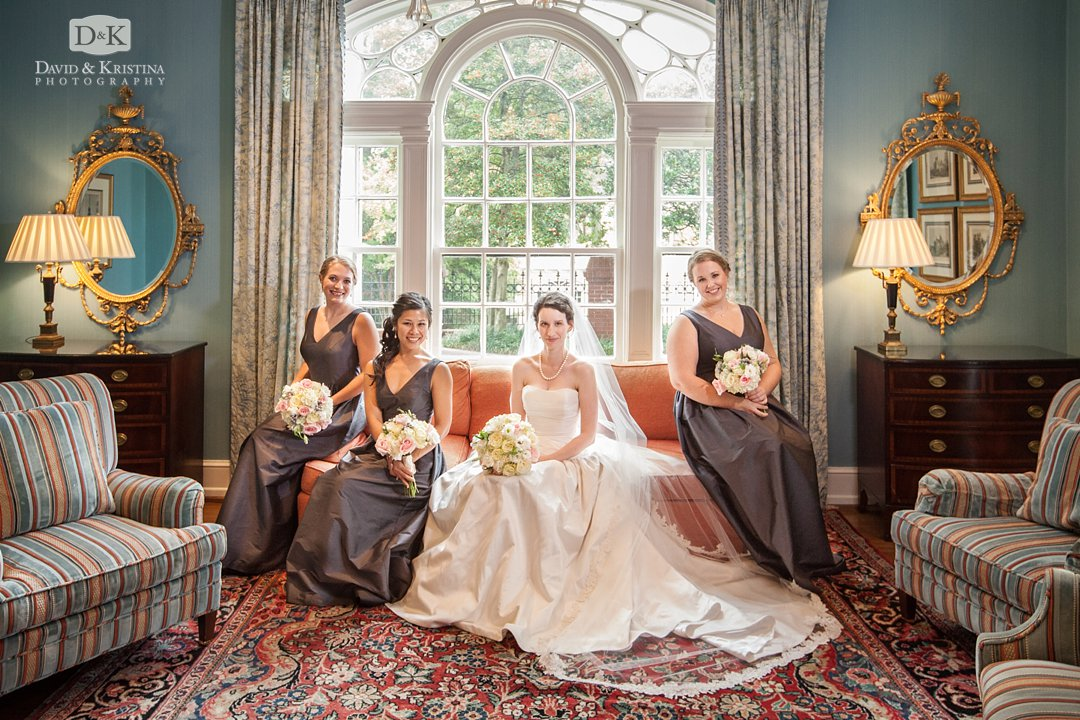 bride and bridesmaids on sofa at The Poinsett Club