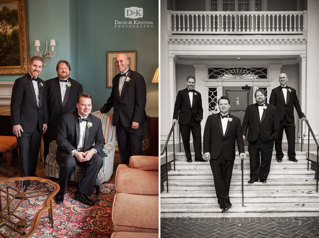 groom and groomsmen at The Poinsett Club