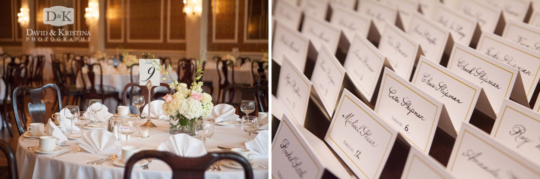 table arrangements and place cards