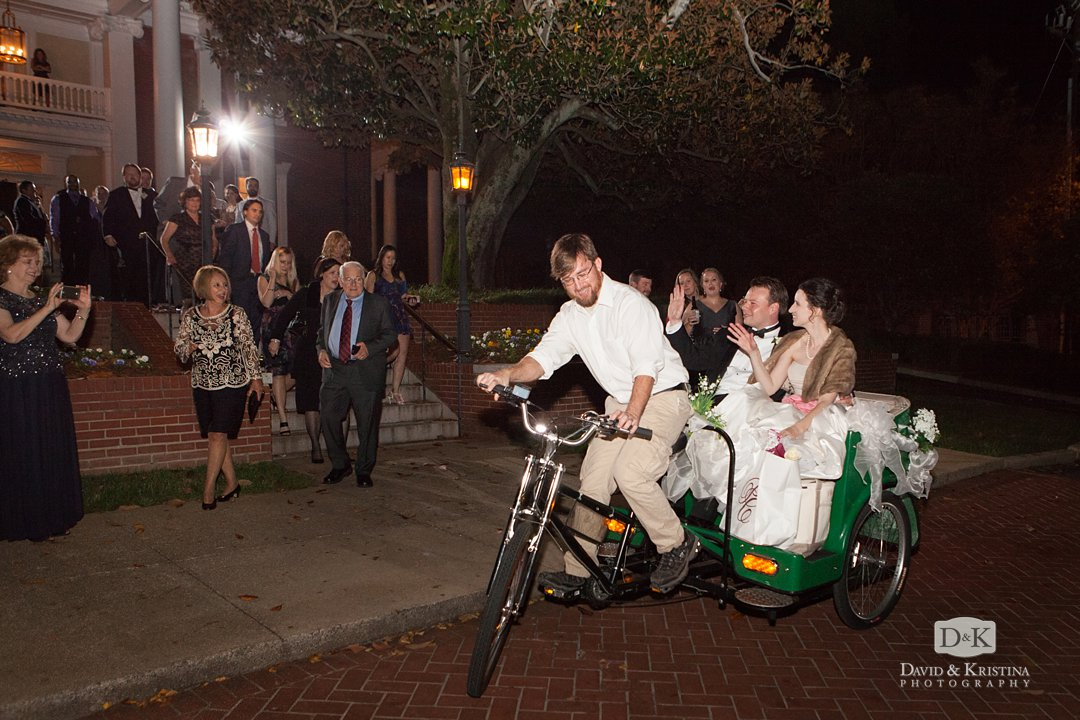 pedi cab bicycle picks up bride and groom after wedding at The Poinsett Club