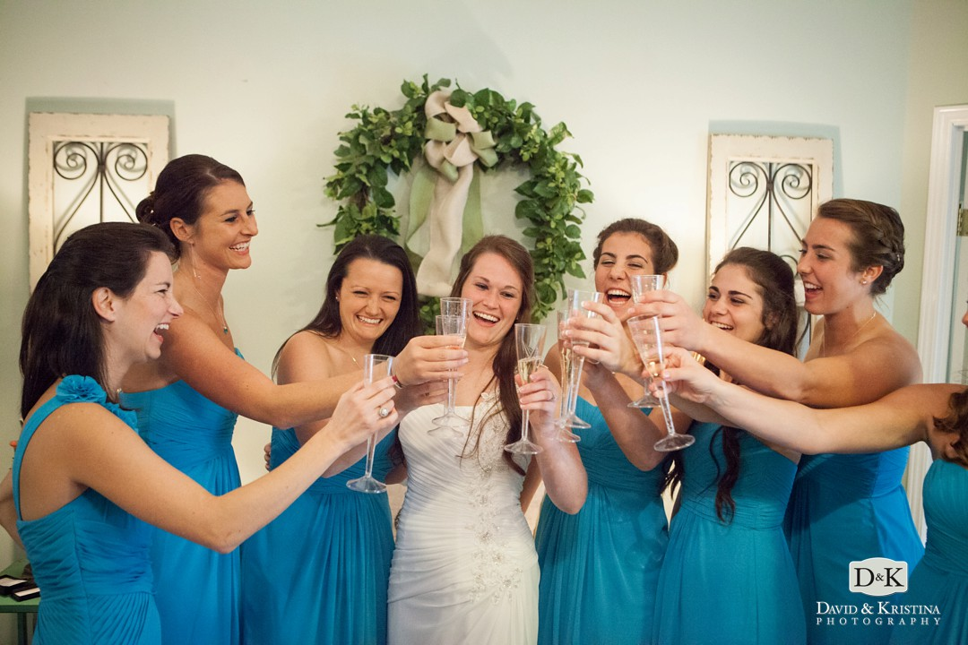 bridesmaids drinking champagne at Twigs bridal room