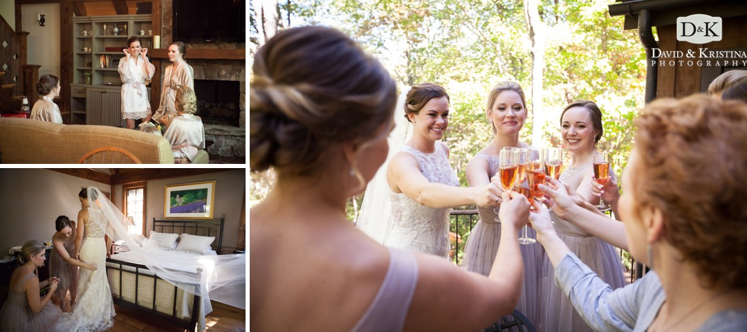 bride and bridesmaids getting ready at a private residence at The Cliffs at Mountain Park