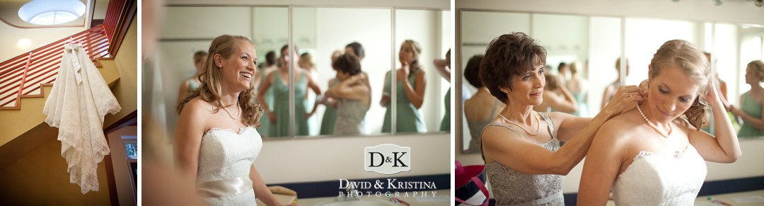bride getting ready at Furman's Daniel Chapel