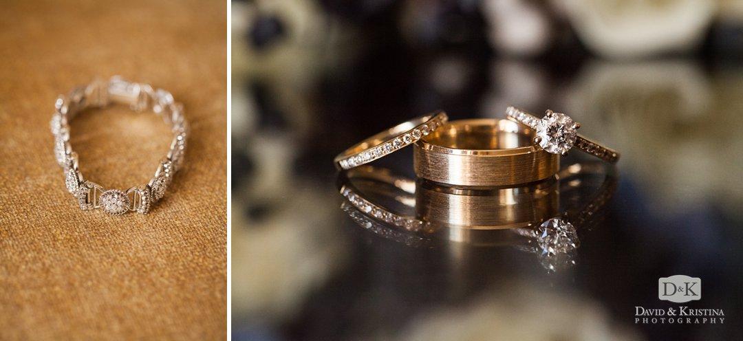 bracelet and wedding rings