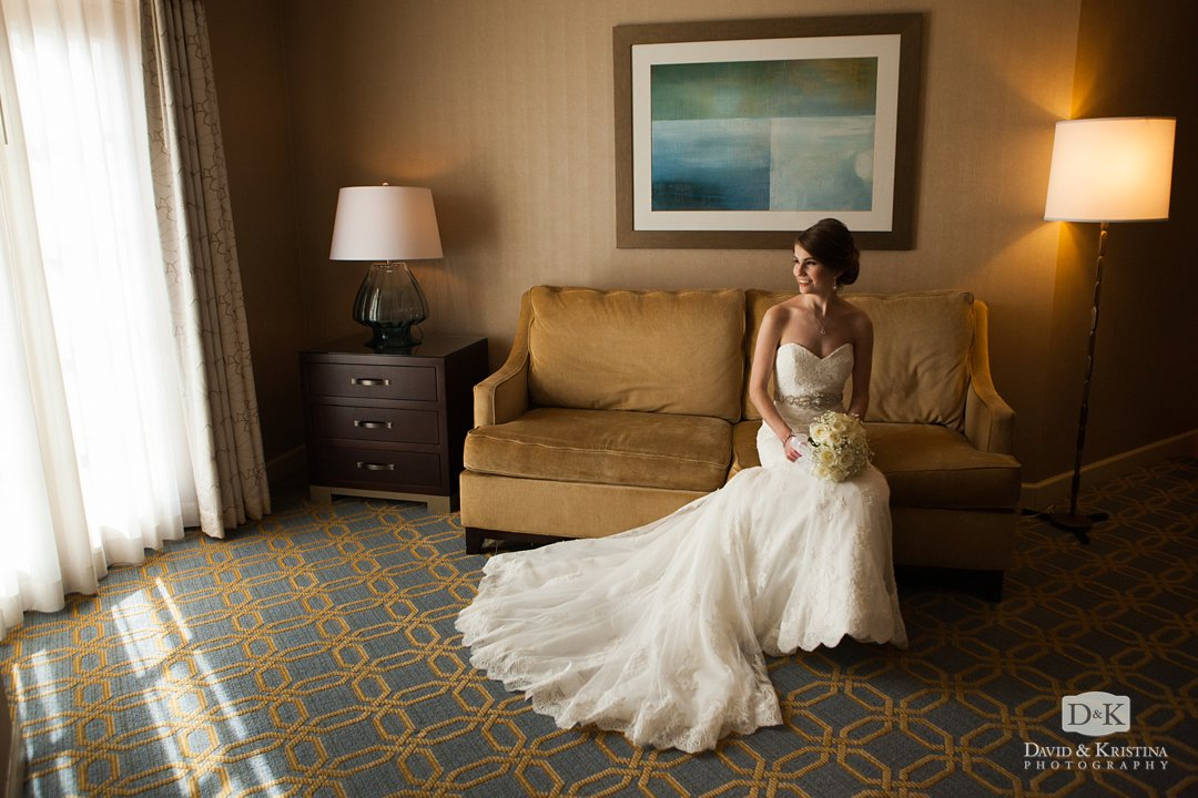 bride in hotel room before wedding