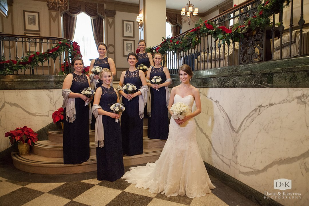 bride and bridesmaids at Westin Poinsett Hotel at Christmas time