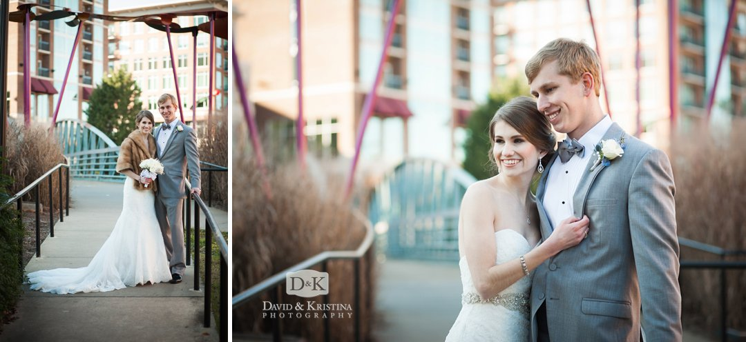 Bride and Groom photos on Riverwalk area behind Peace Center