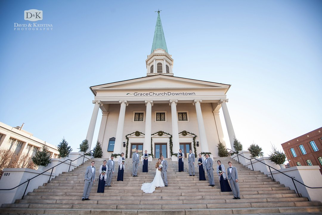 wedding party on front steps of Grace Church Downtown