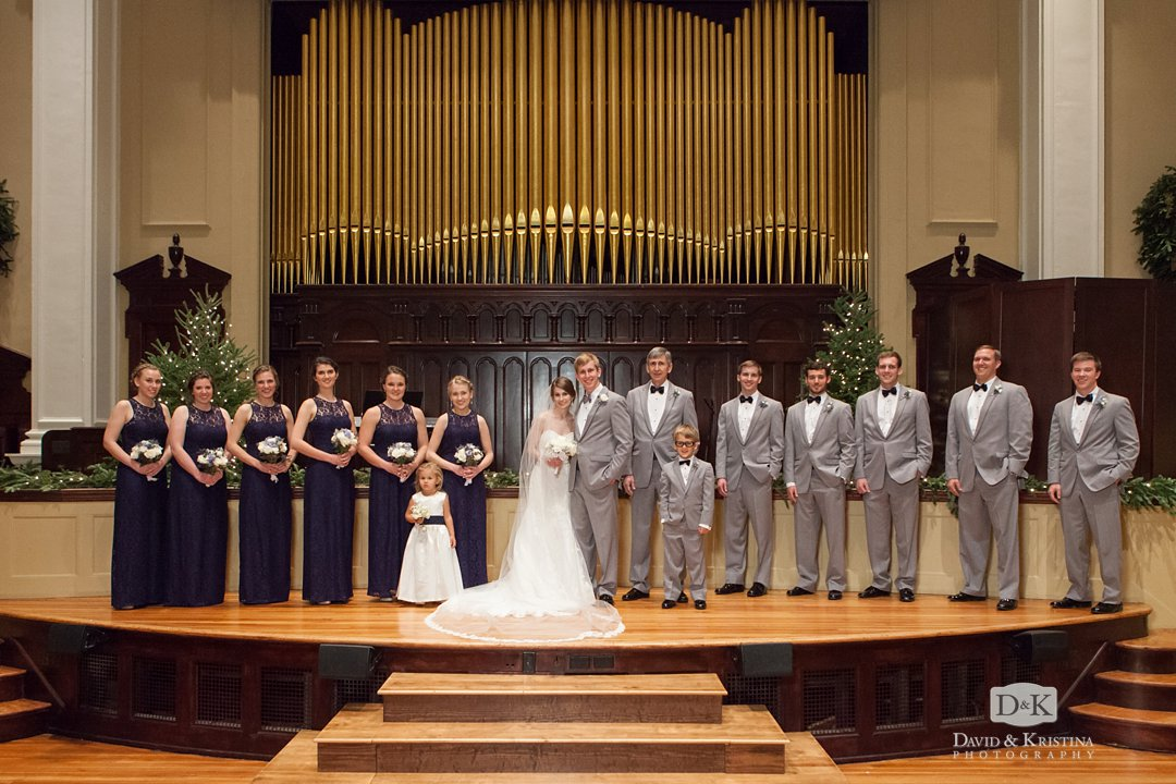 wedding party in front of organ pipes at Grace Church Downtown