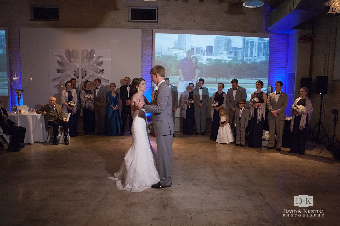 Tim and Mandy's first dance with slideshow in background
