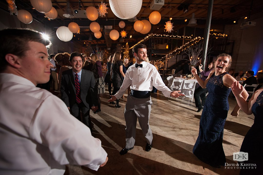 guests dance at Zen Greenville wedding reception