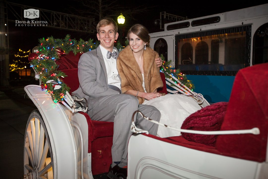 bride and groom horse and carriage ride