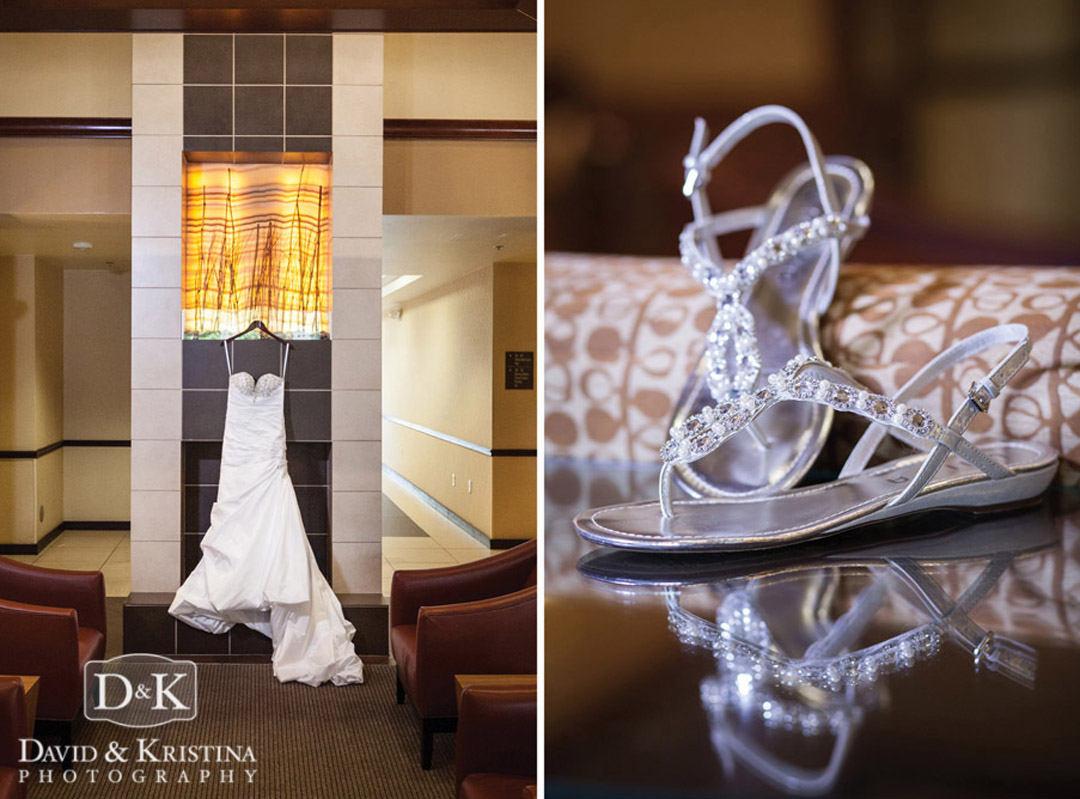 wedding dress and shoes in the Hyatt Place, Greenville