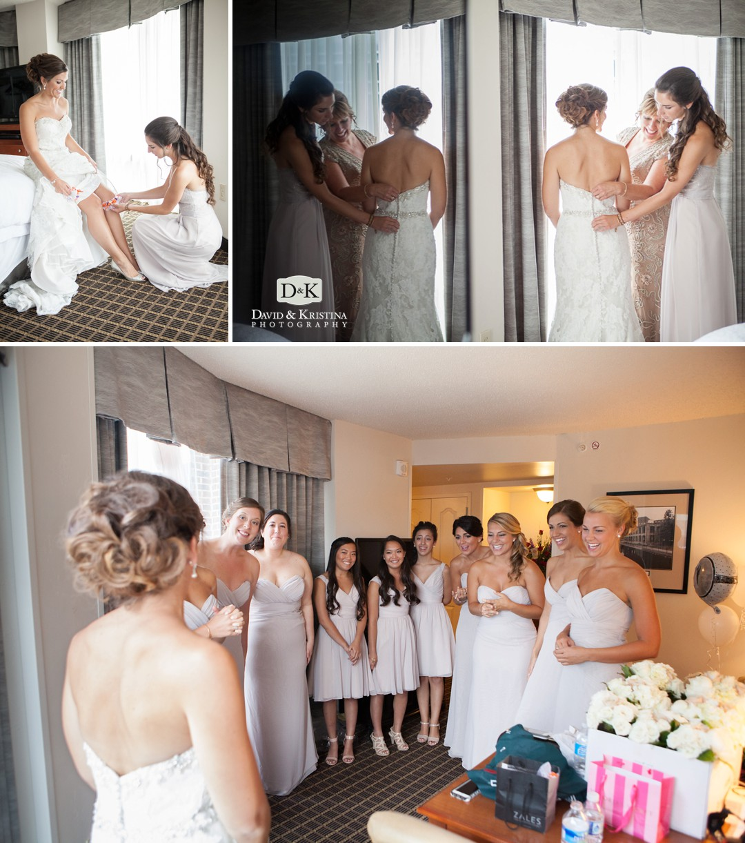 bride getting ready at the Hampton Inn Riverwalk Greenville SC