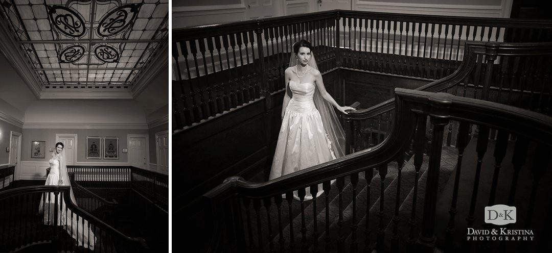 Bridal portrait on staircase at Greenville Poinsett Club
