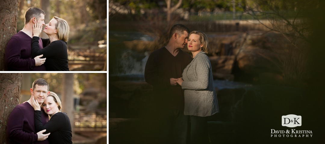 Engagement photo at Reedy River Falls