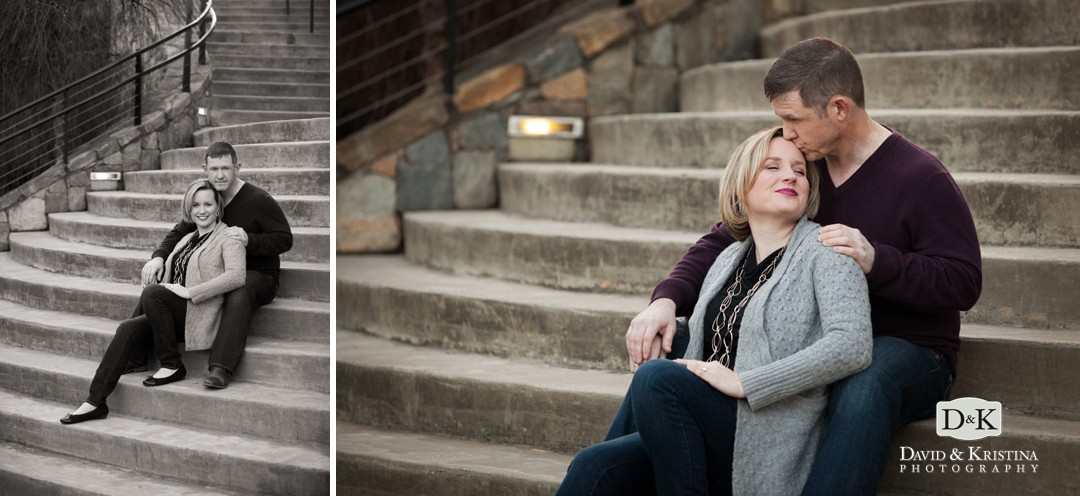 engagement photo on concrete steps by the Reedy River Walk below Hall's Chophouse in Greenville