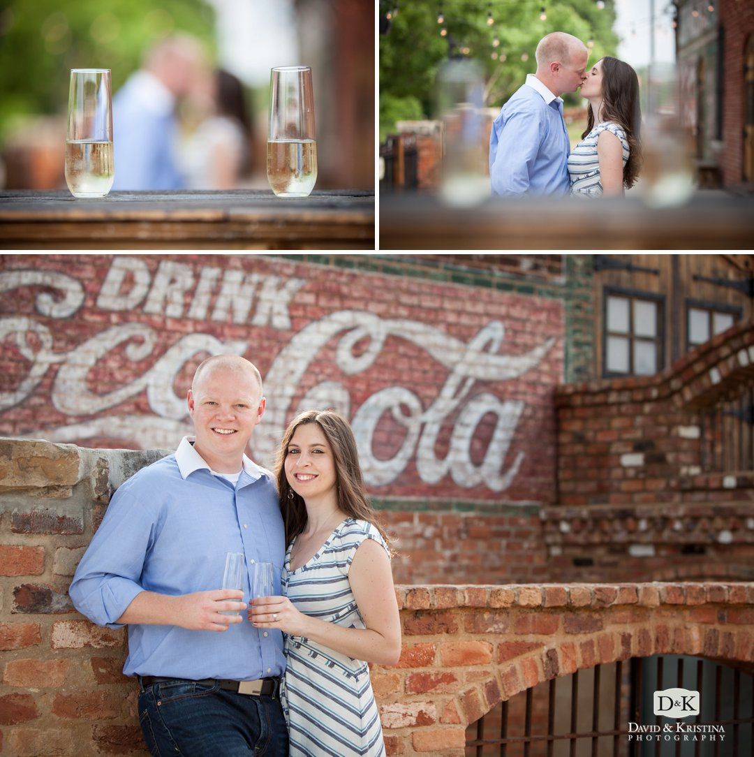 engagement photos with wine glasses at The Old Cigar Warehouse