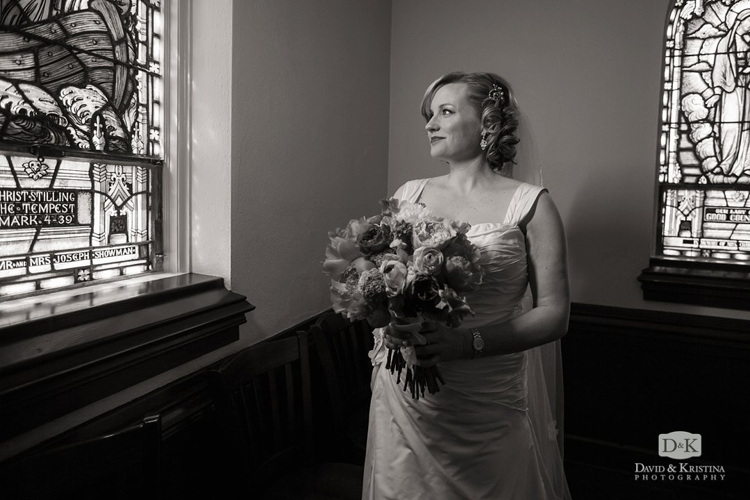 Megan in the cry room before walking down the aisle