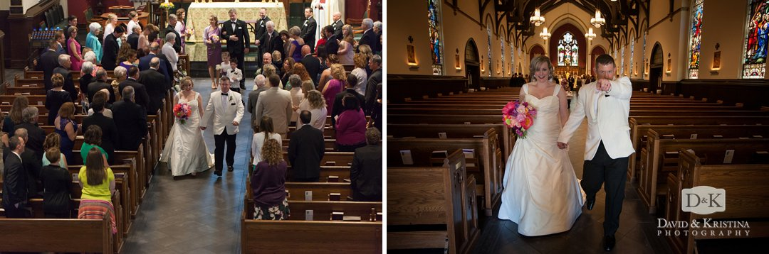 bride and groom recess down the aisle at St. Mary's