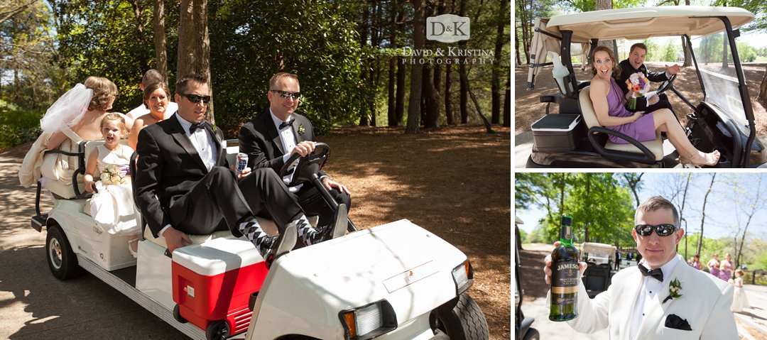 wedding party in golf carts at Thornblade Country Club