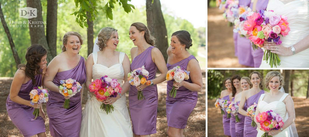 bride with bridesmaids at Thornblade golf course