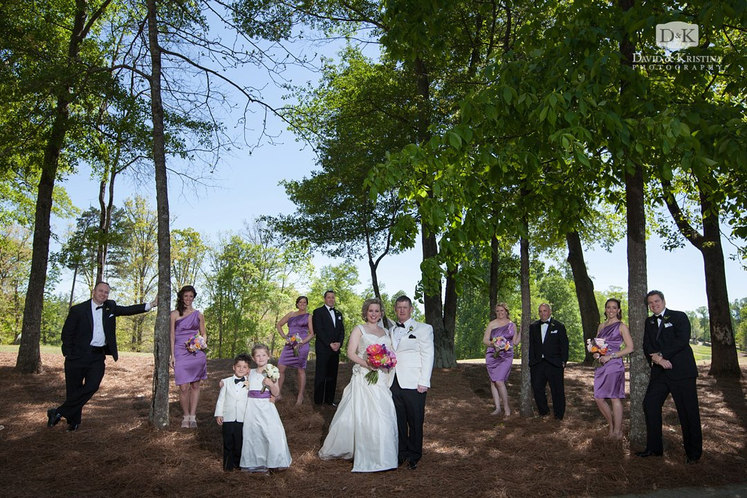 wedding party in front of trees at Thornblade Wedding reception