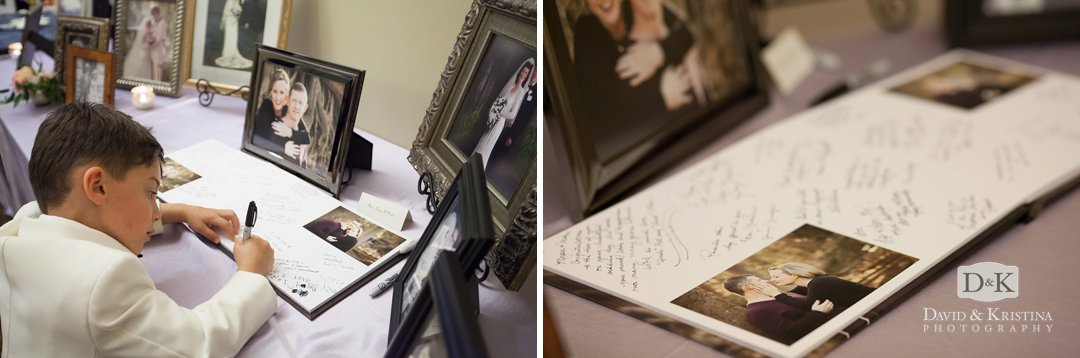 Guest signature book with engagement photos
