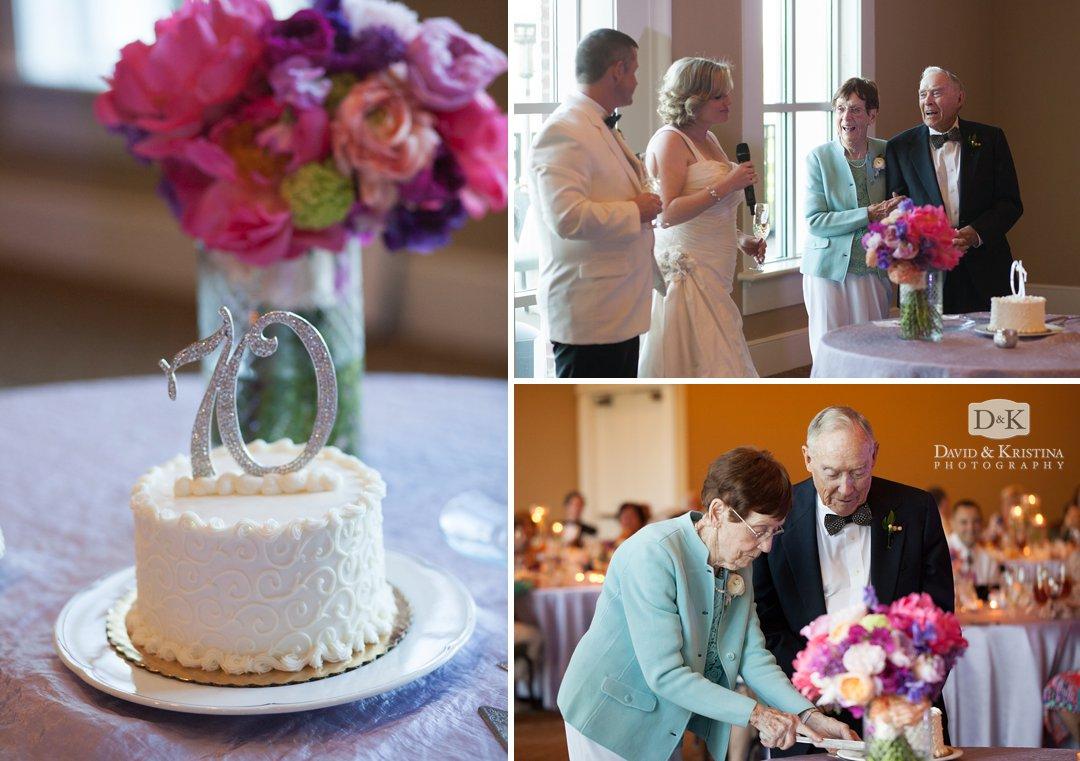 Surprise 70th wedding anniversary cake for bride's grandparents