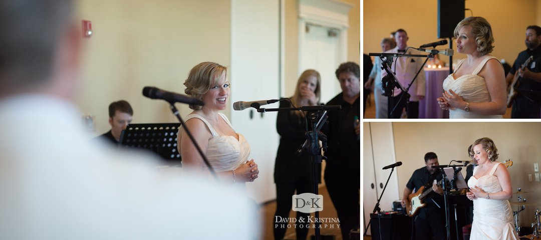 bride sings to groom at wedding reception