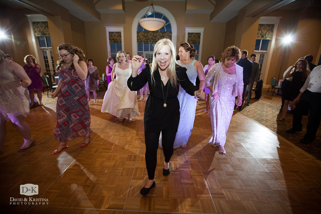 Erica Berg leads the dances at wedding reception
