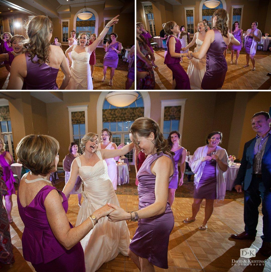 bridesmaids dance at wedding reception