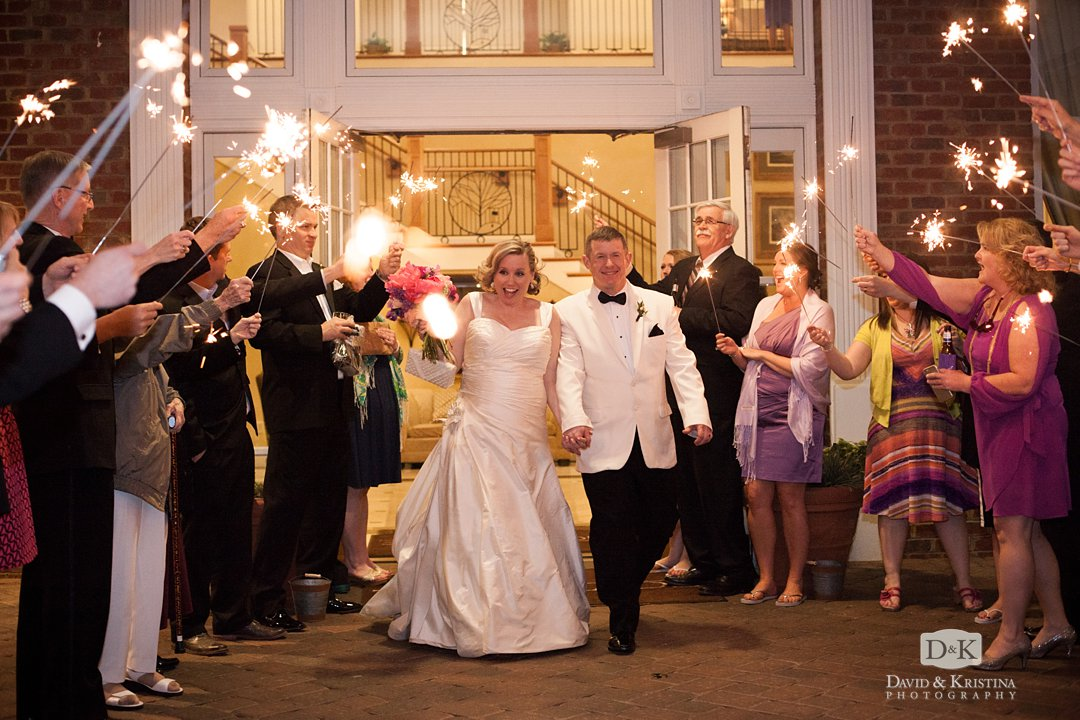 Bride and groom sparkler exit at Thornblade Clubhouse