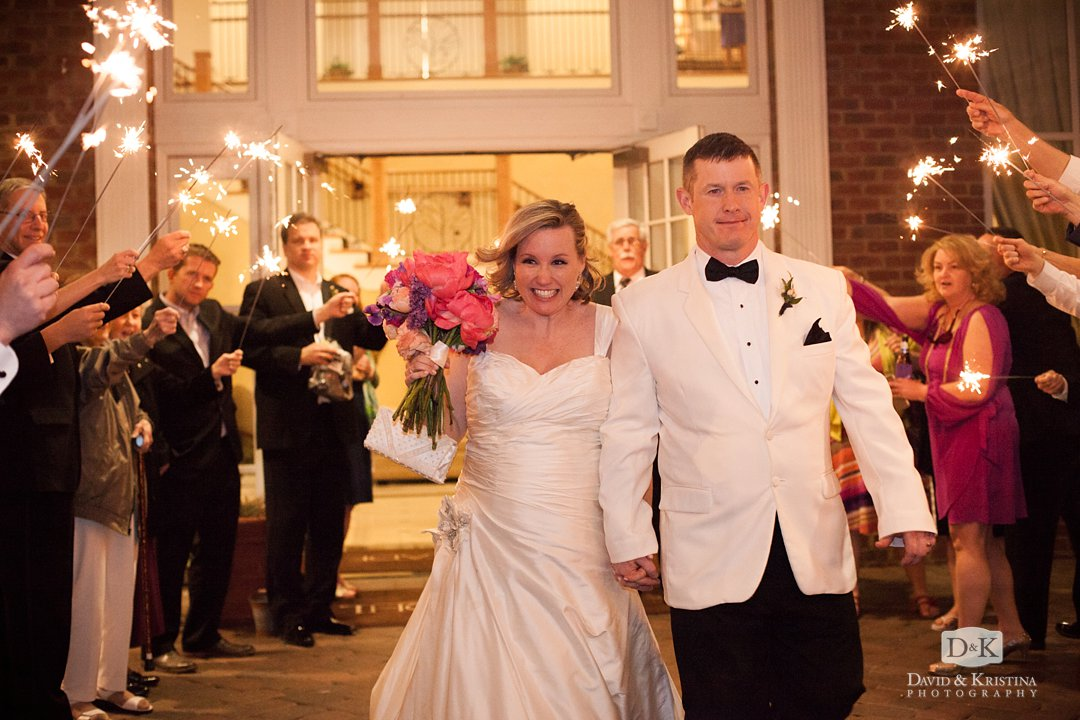 Mike and Megan leave Thornblade clubhouse after wedding