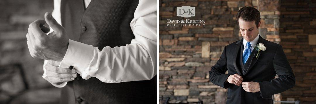 groom putting on cufflinks and tuxedo jacket