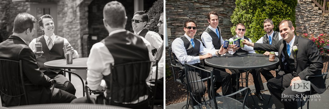 groomsmen hanging out drinking beer before the wedding