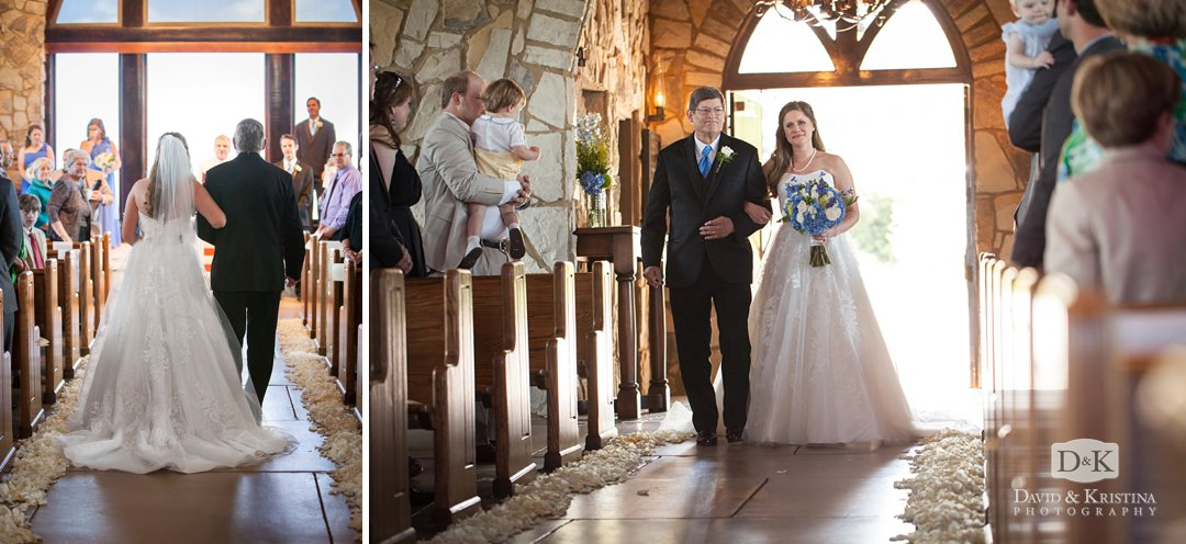 Carrie walking down the aisle at the Glassy Mountain Chapel