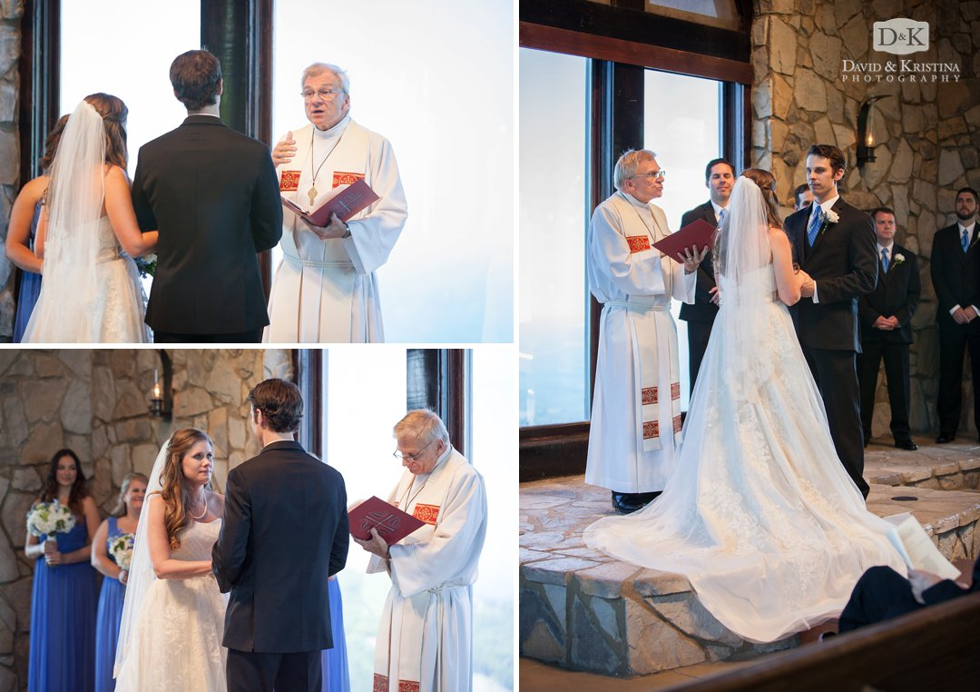 Mike and Carrie saying wedding vows