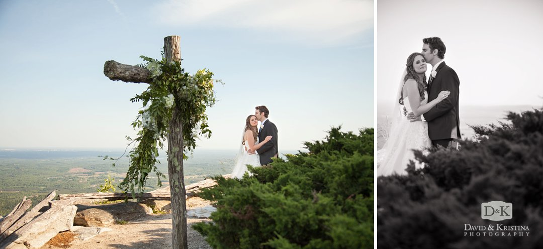 bride and groom next to cross behind Cliffs at Glassy